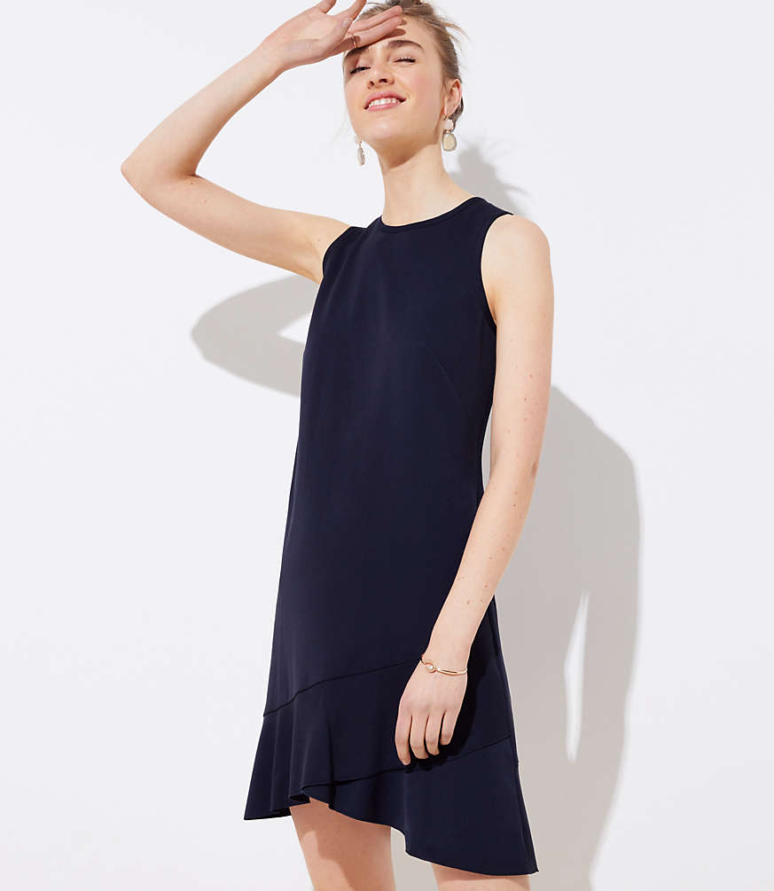 Petite Crossover Flounce Dress by Loft