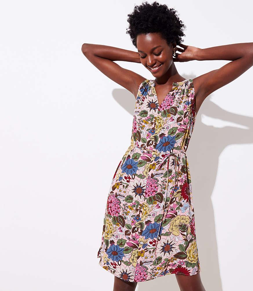 Petite Hydrangea Garden Split Neck Dress