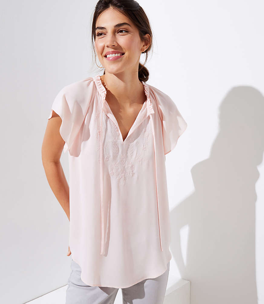 Petite Embroidered Ruffle Tie Neck Top