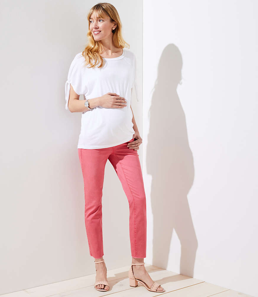 Petite Maternity Fresh Cut Skinny Crop Jeans in Passion Fruit