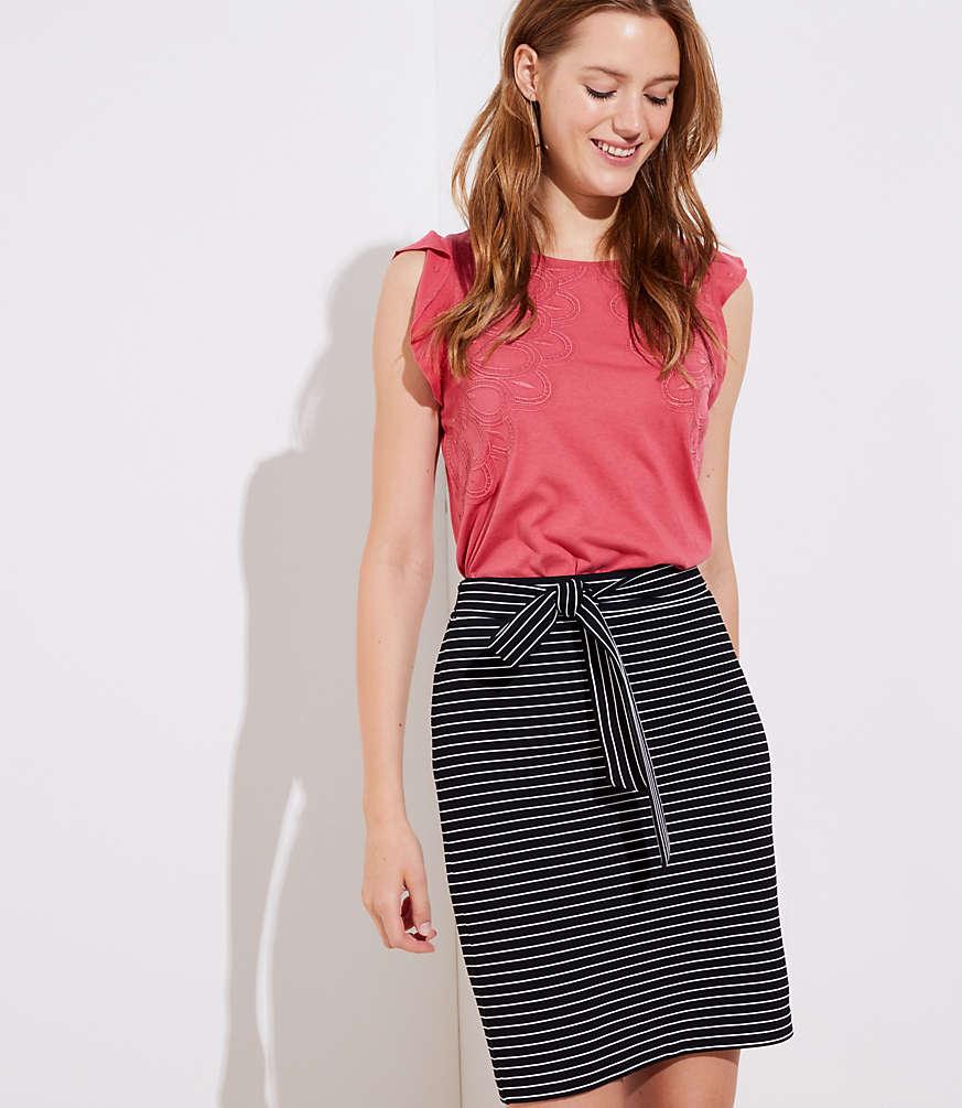 Petite Striped Tie Waist Pencil Skirt