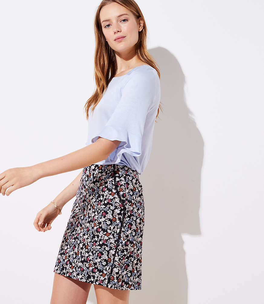 Petite Floral Lacy Pocket Shift Skirt
