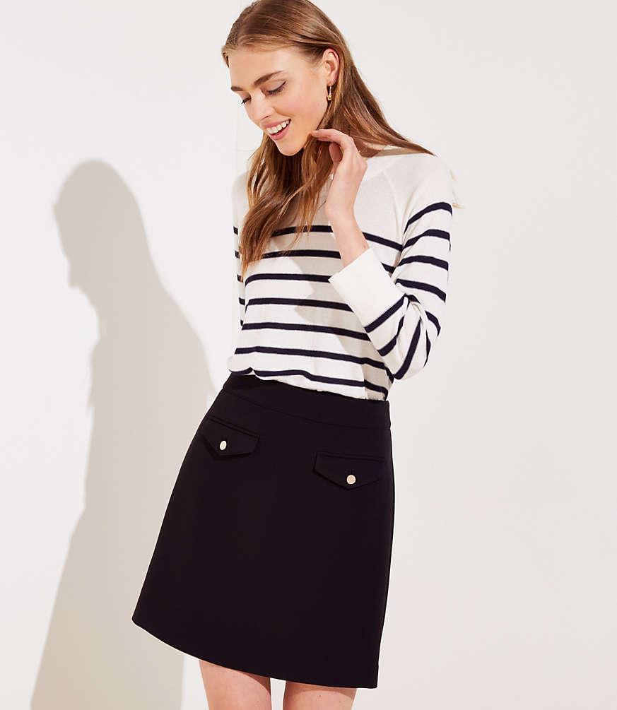 Petite Button Pocket Shift Skirt