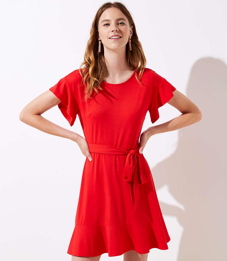 Petite Tie Waist Flounce Dress