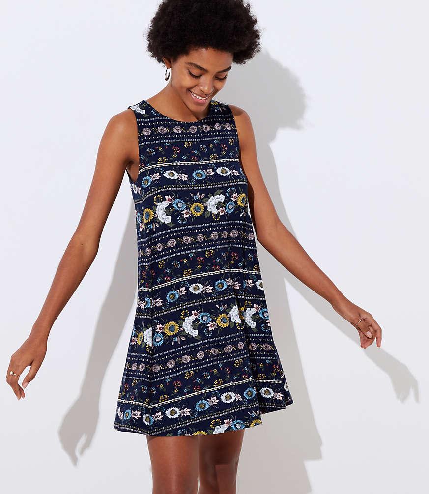 Petite Flower Stripe Sleeveless Swing Dress