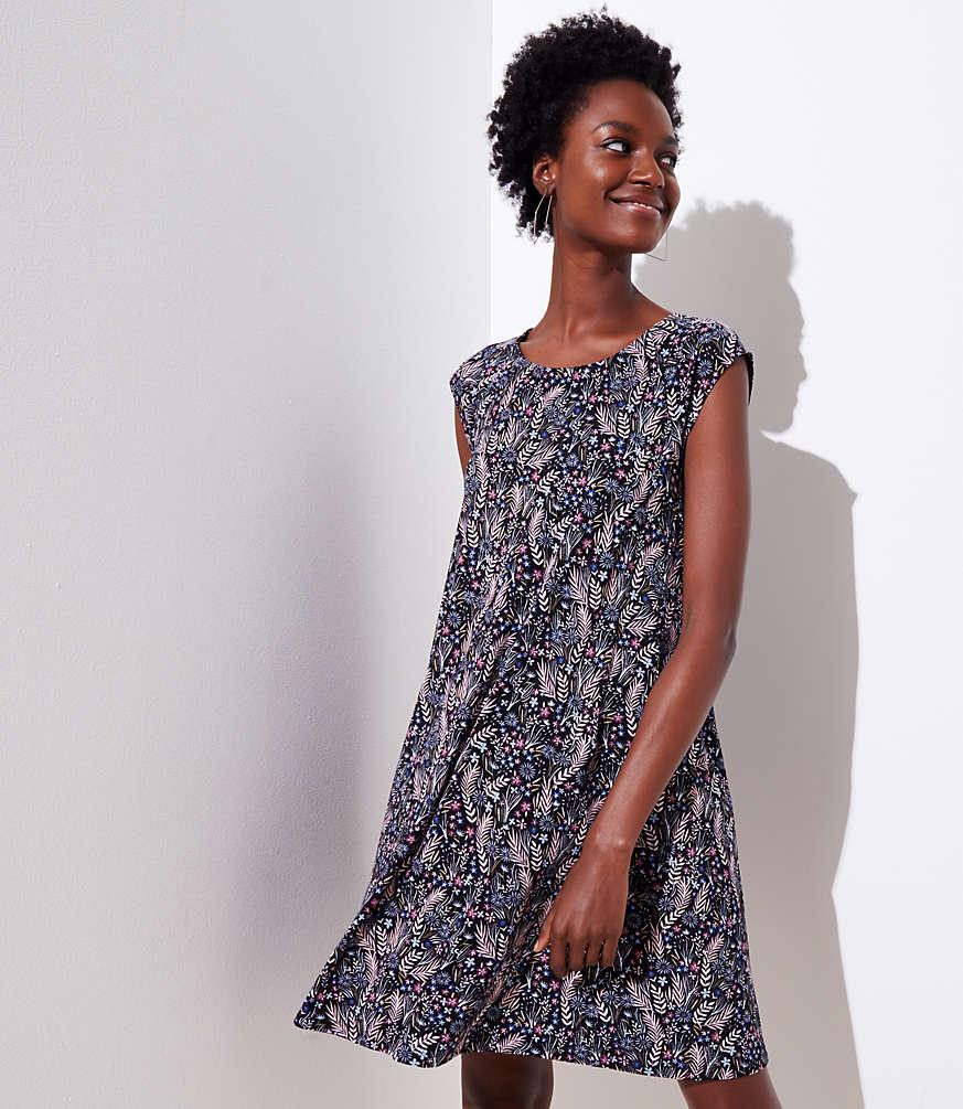 Petite Meadow Cap Sleeve Swing Dress