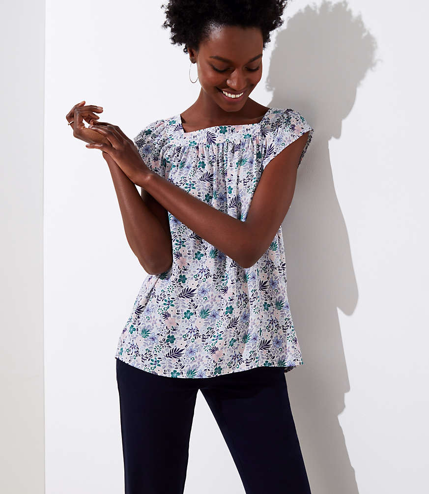 Petite Floral Shirred Square Neck Top
