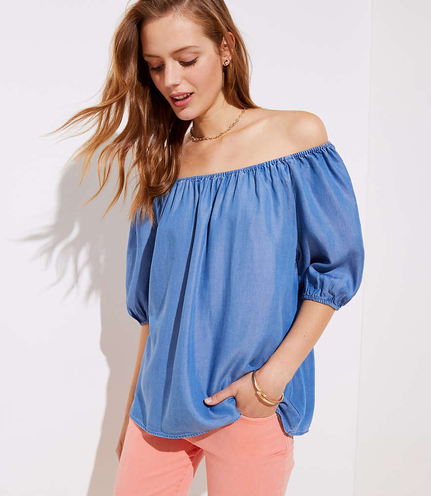 Petite Chambray Off The Shoulder Top
