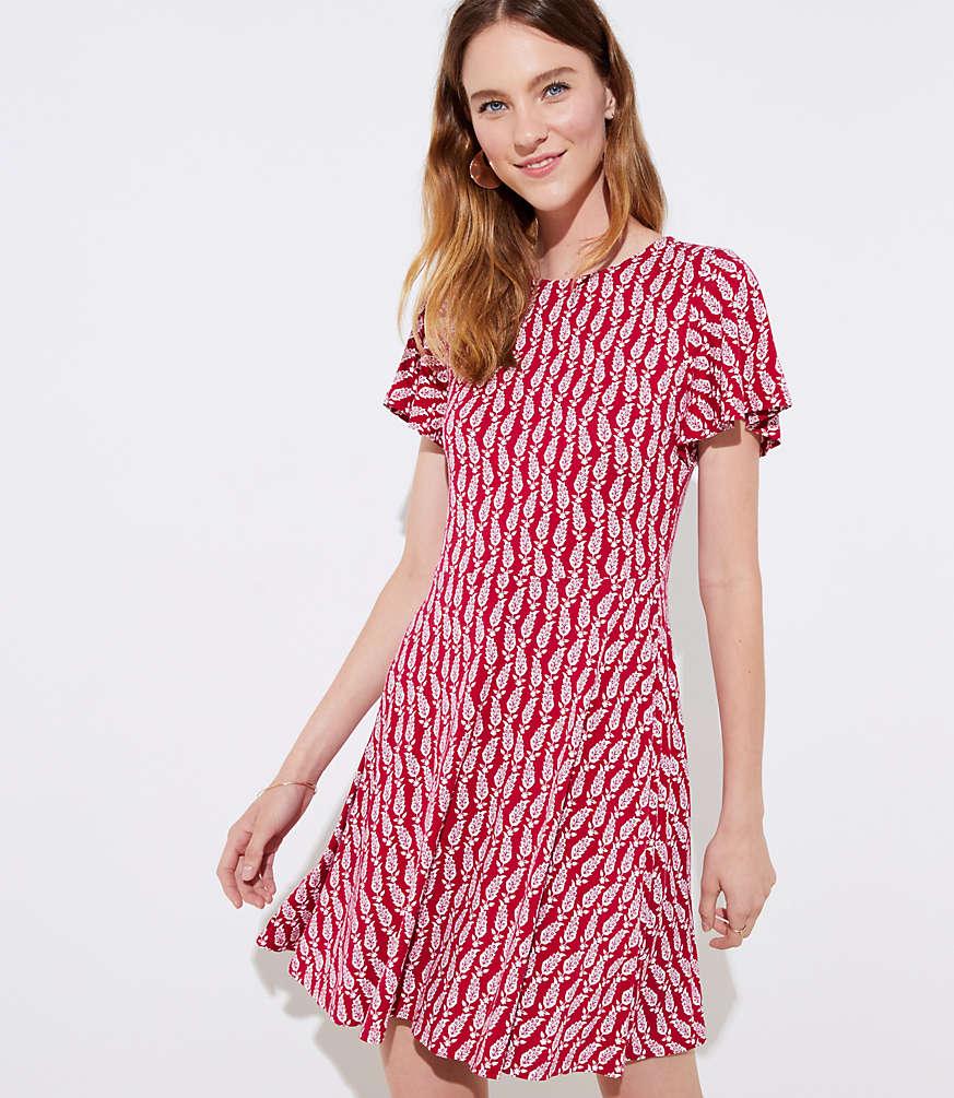 Petite Paisley Flutter Flare Dress