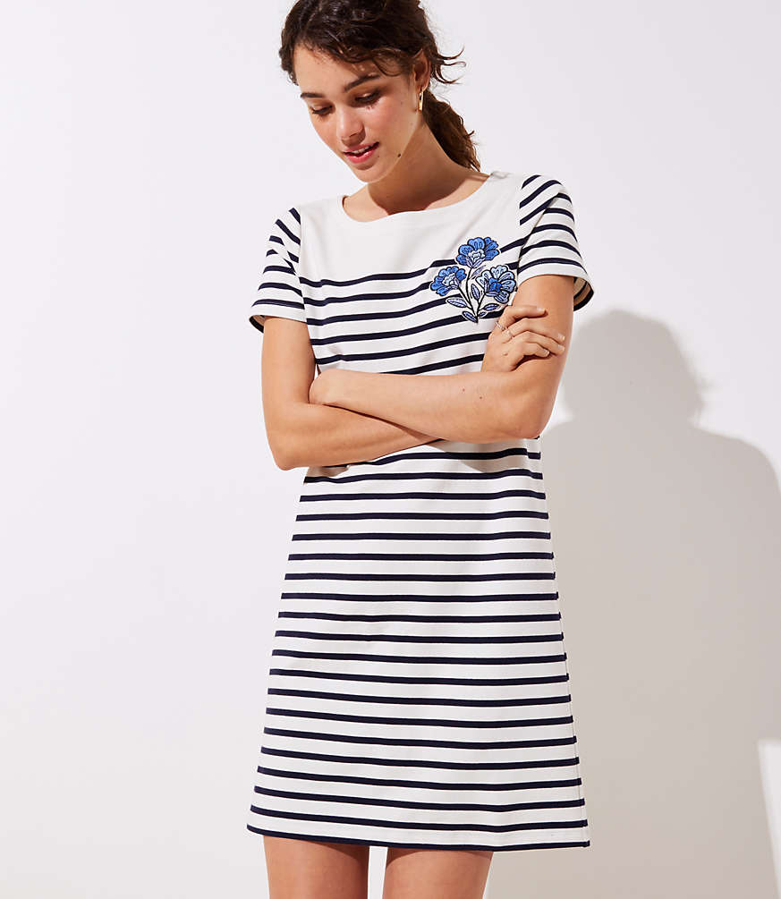 Petite Floral Embroidered Stripe Tee Dress