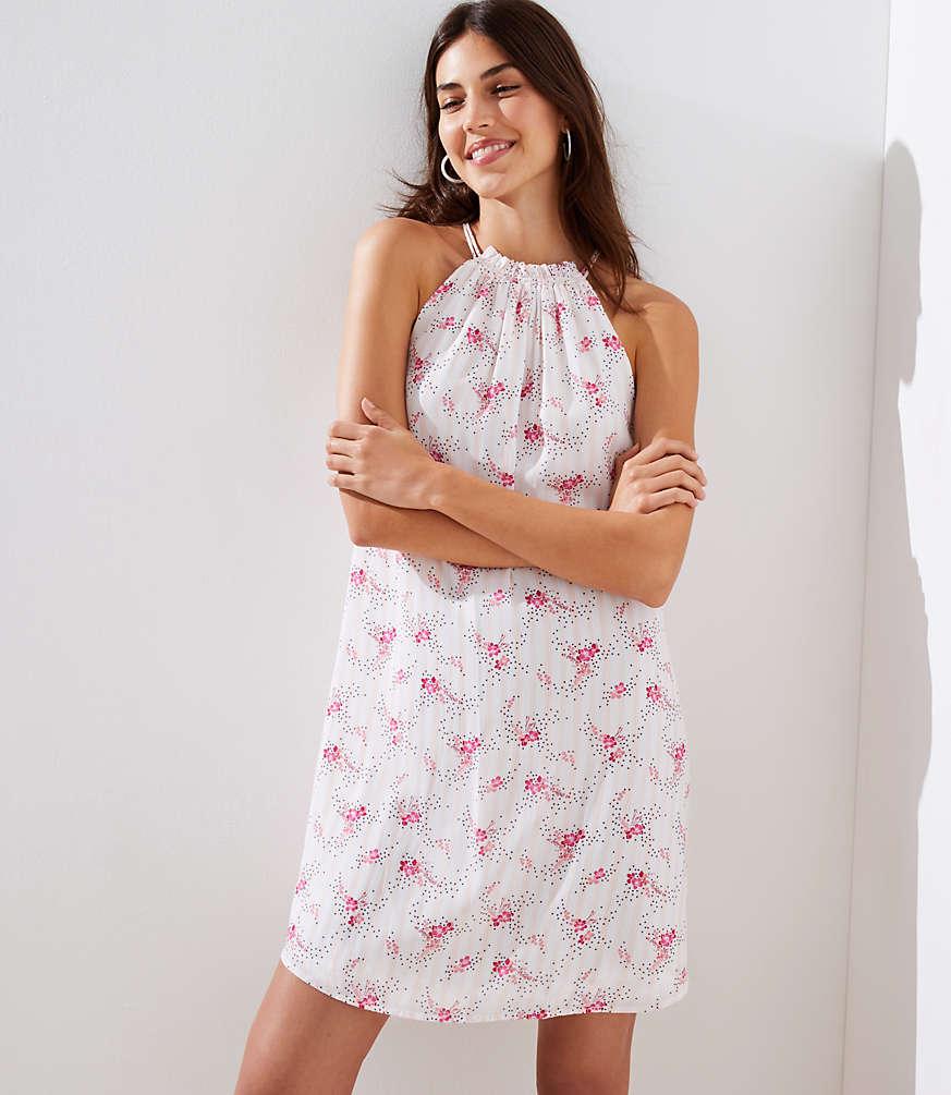 Petite Floral Sprinkle Halter Swing Dress