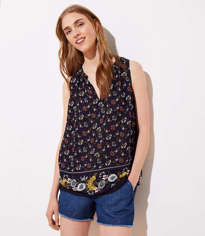 Petite Mixed Floral Shirred Split Neck Shell