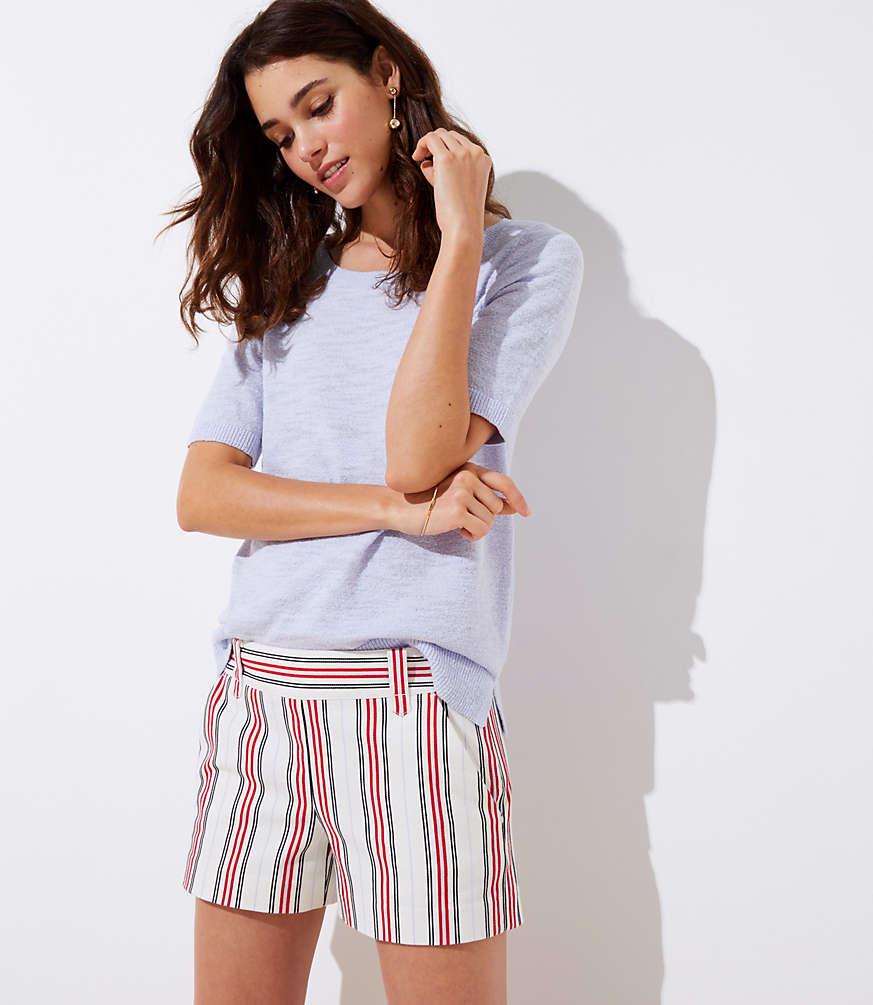 Petite Striped Side Zip Shorts