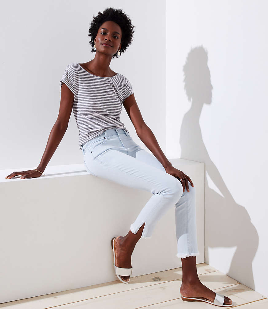 Petite Modern Slit Frayed Skinny Crop Jeans in Pale Indigo