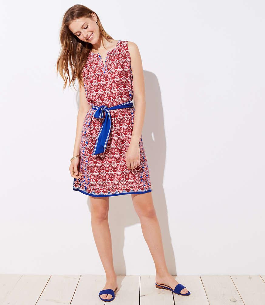 Petite Floral Mosaic Tie Waist Dress