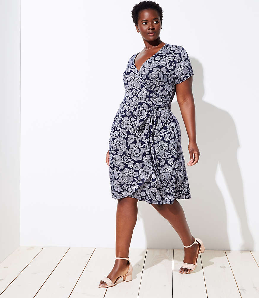 LOFT Plus Floral Short Sleeve Wrap Dress | LOFT