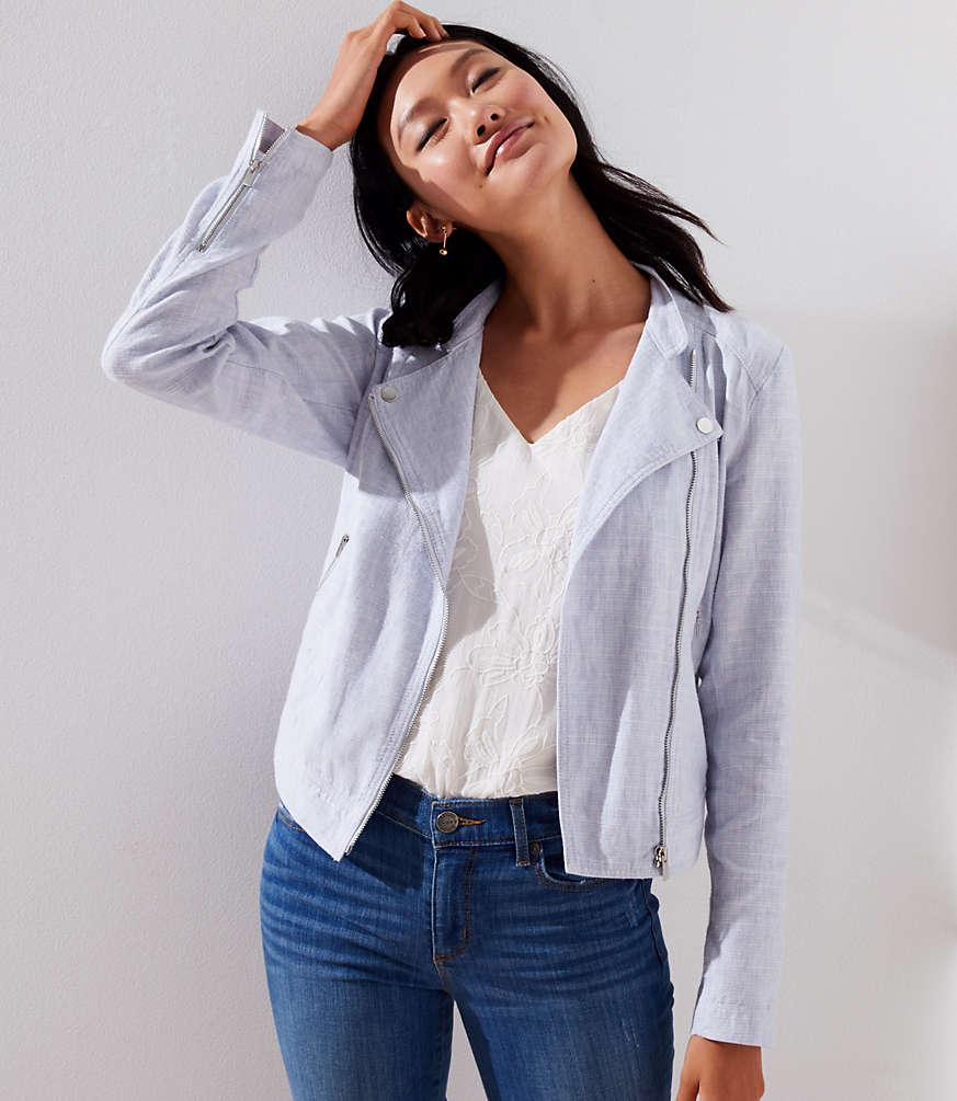 Petite Linen Cotton Moto Jacket