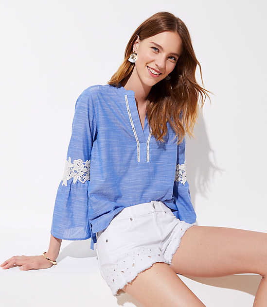Petite Crochet Chambray Bell Sleeve Top