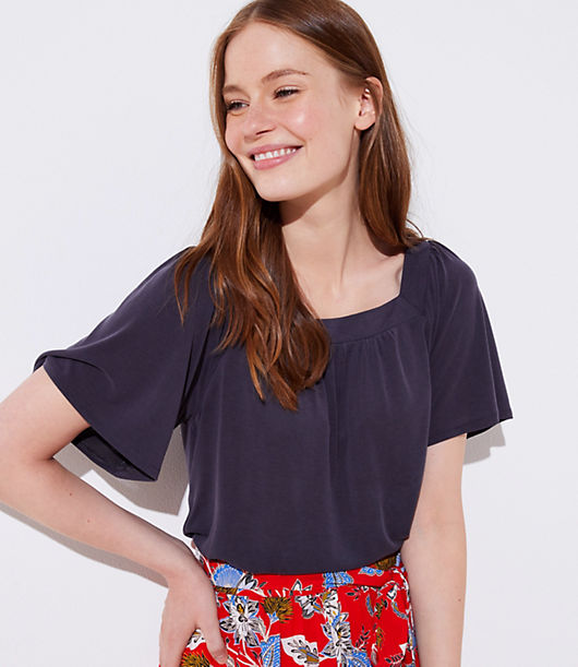 Sandwashed for extra softness, this laid-back tee dresses up with a flattering square neck and pretty shirred detail. Square neck. Flared short sleeves.