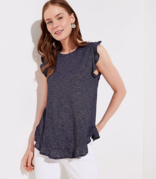 Do flirty flair the effortless way with this soft striped tee, trimmed in ruffles at its sleeves and hem. Round neck. Cap sleeves. Shirttail hem.