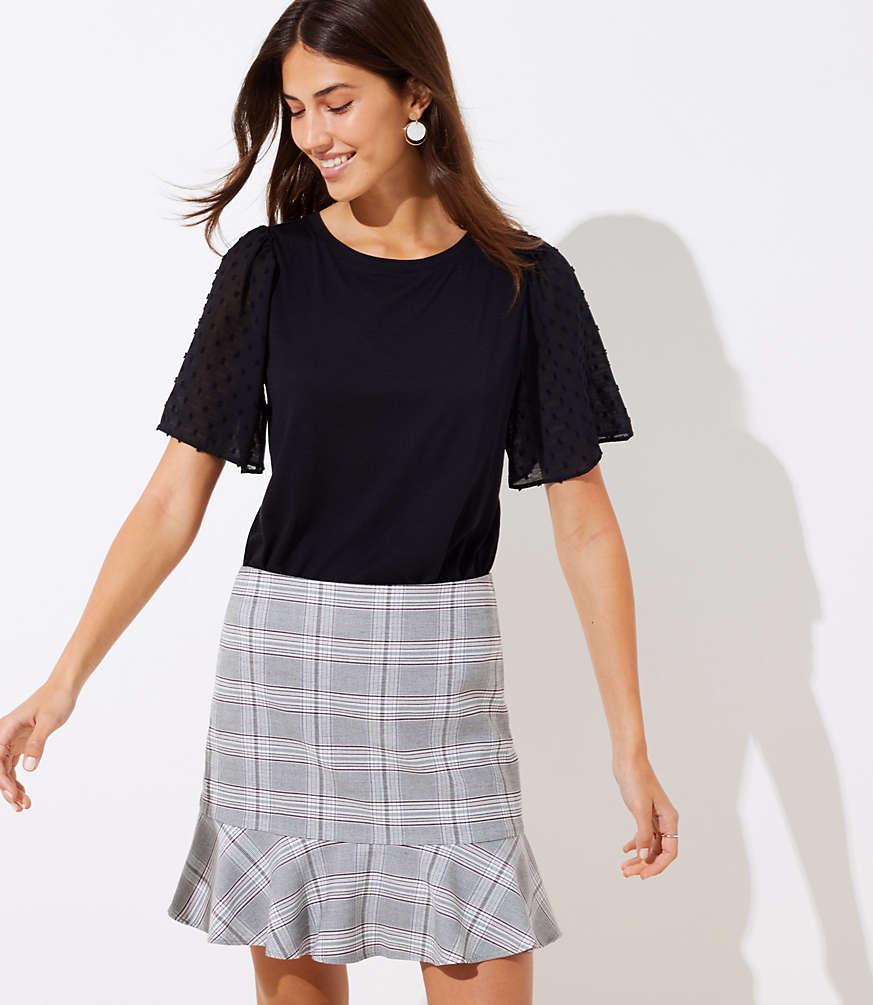 Petite Plaid Ruffle Skirt