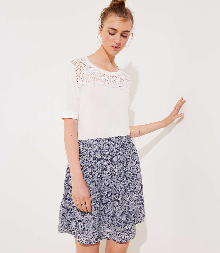 Petite Floral Pocket Pull On Skirt