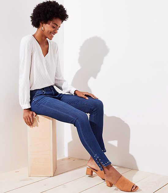 bc43da3d52b3f Studded Cuff Skinny Jeans in Rich Dark Indigo Wash