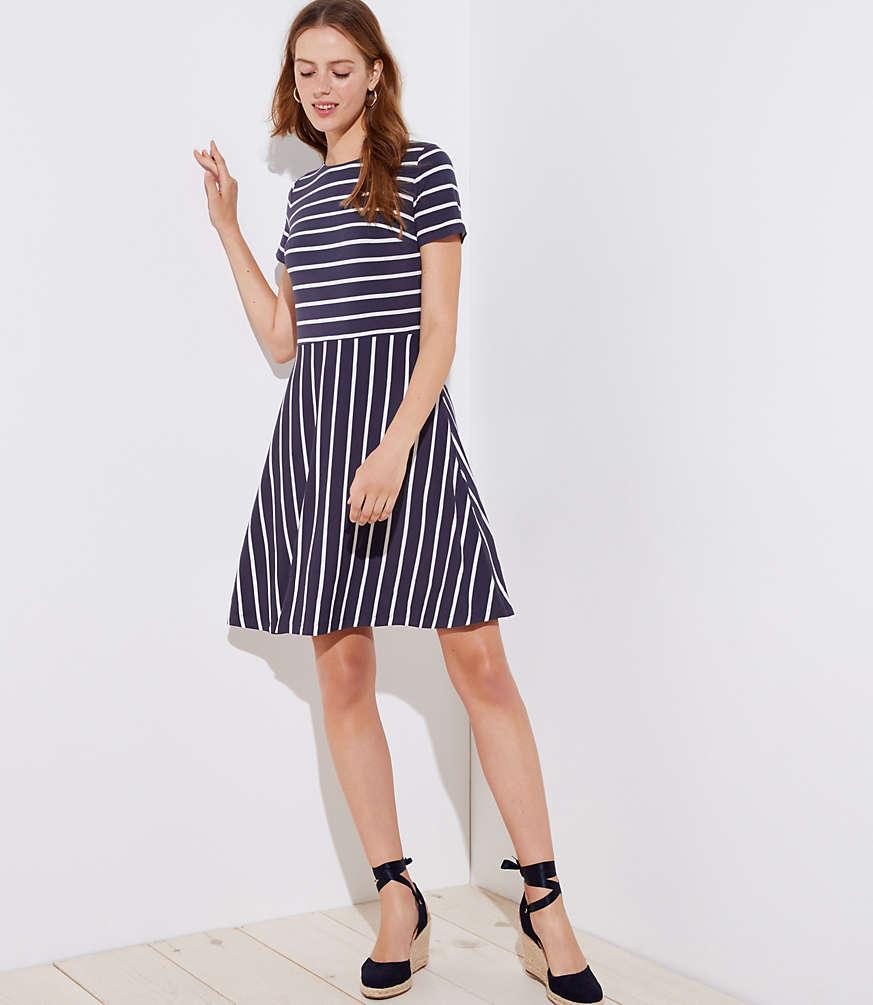 Petite Striped Cutout Back Flare Dress