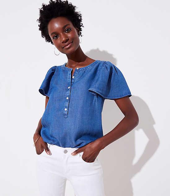 828a2aec96ecb0 Blue Short Sleeve Shirts   Blouses