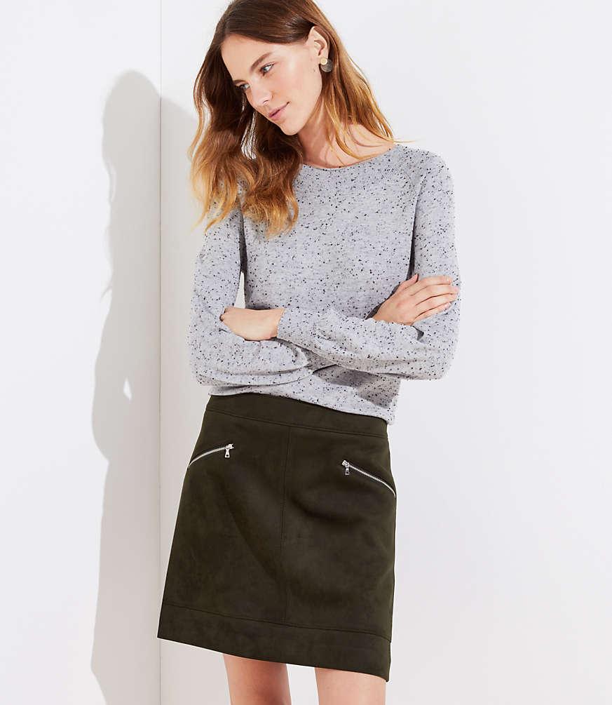 Loft petite-faux-suede-zip-skirt $69.5