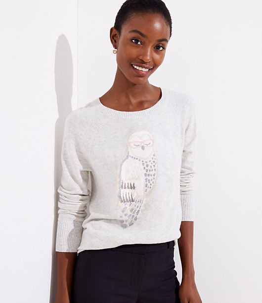 Vintage Sweaters: Cable Knit, Fair Isle Cardigans & Sweaters LOFT Owl Sweater $59.50 AT vintagedancer.com