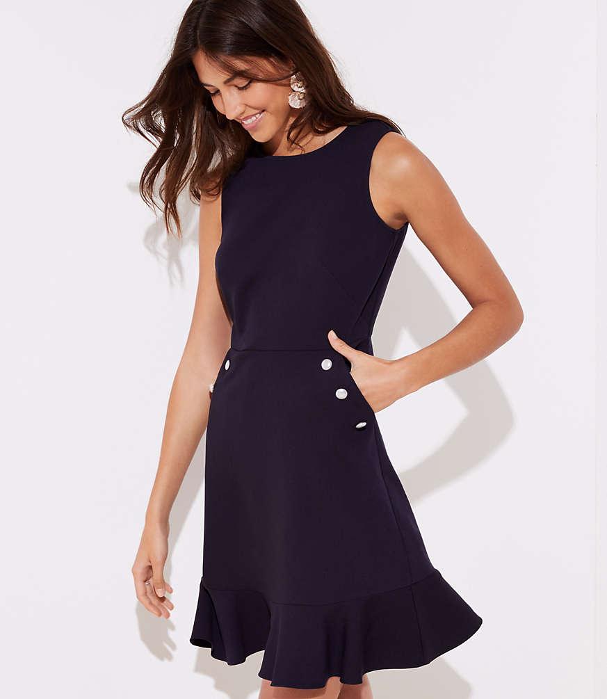 Petite Pearlized Button Pocket Dress
