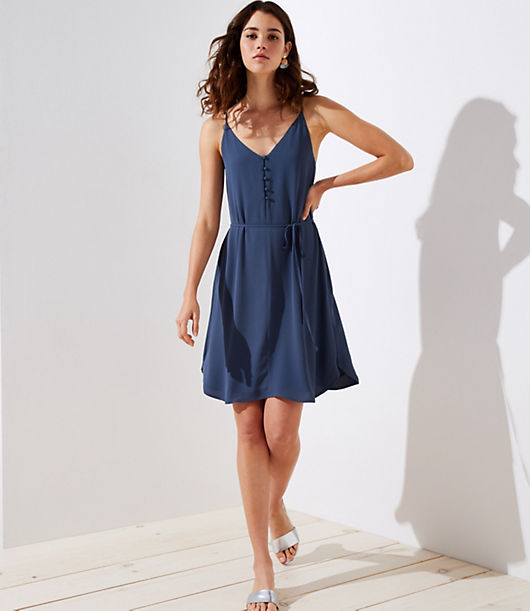 LOFT Covered Button Strappy Cami Dress 25639230