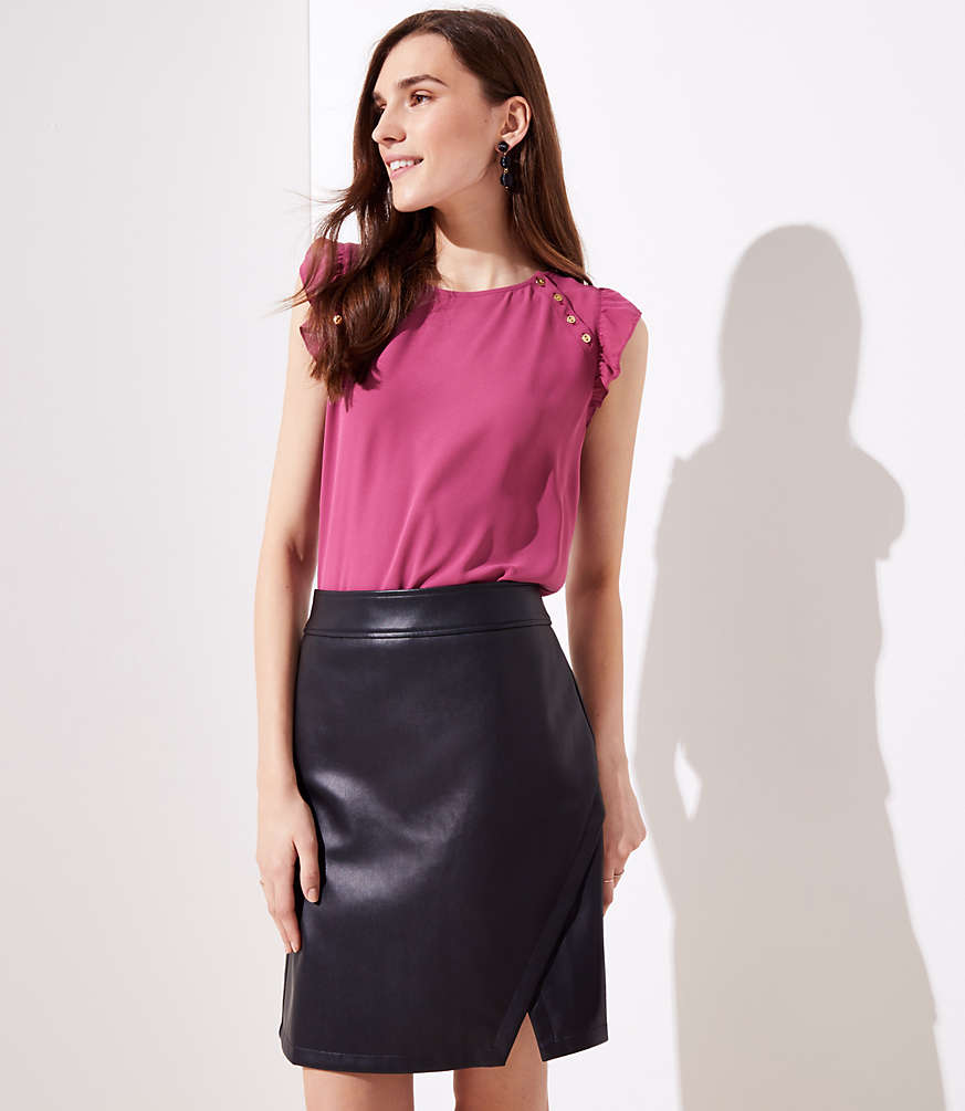 Petite Faux Leather Wrap Skirt
