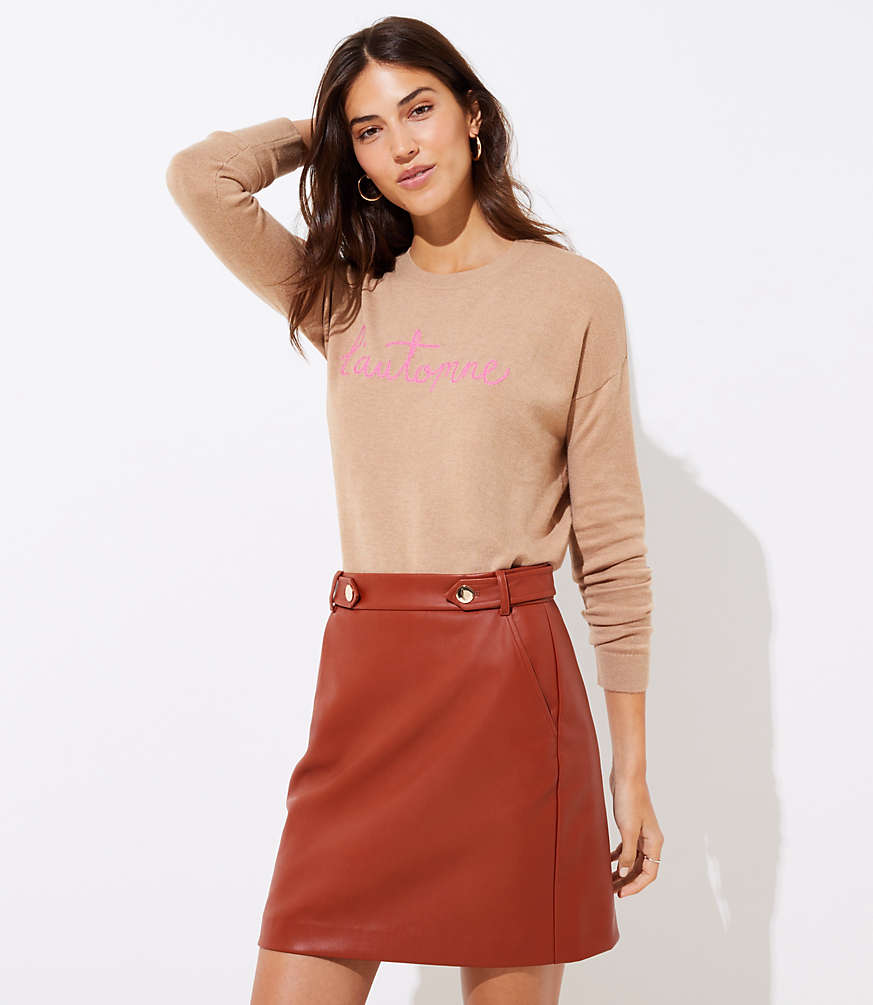 Petite Faux Leather Button Tab Skirt