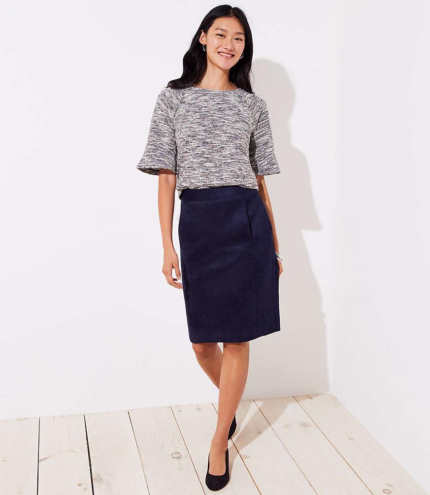 Petite Faux Suede Pencil Skirt