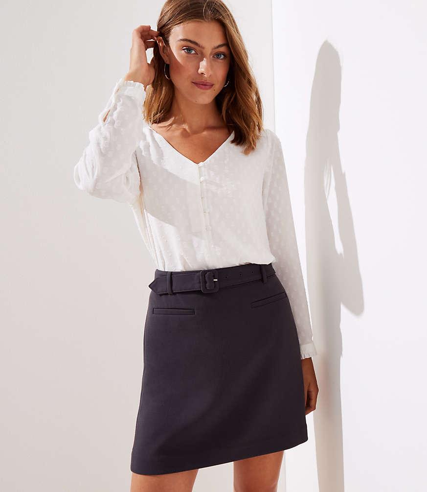 Loft petite-clip-dot-flare-skirt $69.5