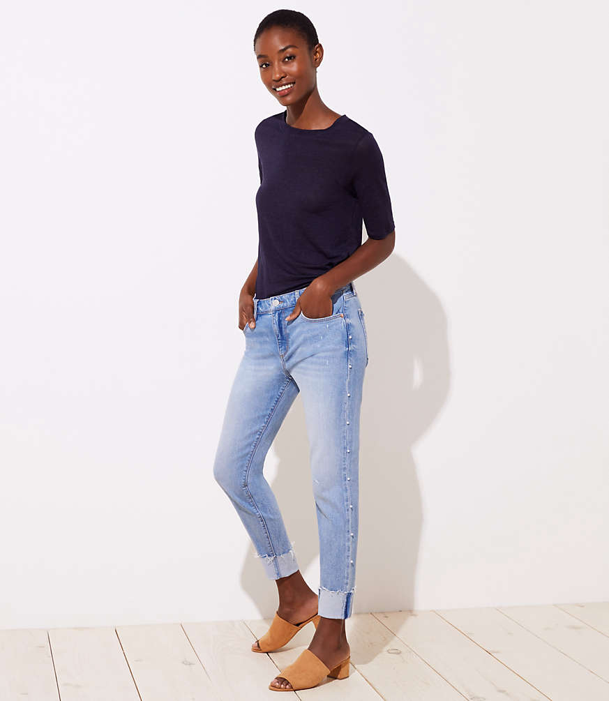 Petite Pearlized Trim Flip Cuff Skinny Jeans in Staple Light Indigo Wash