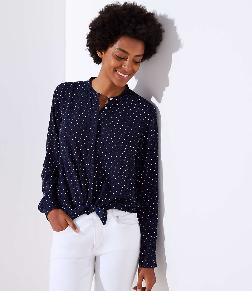 Petite Dotted Utility Blouse