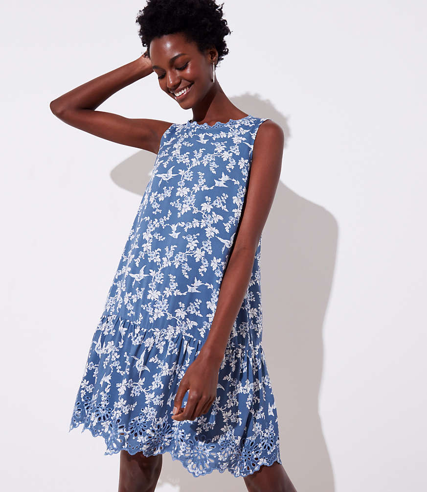 Petite Floral Eyelet Flippy Dress