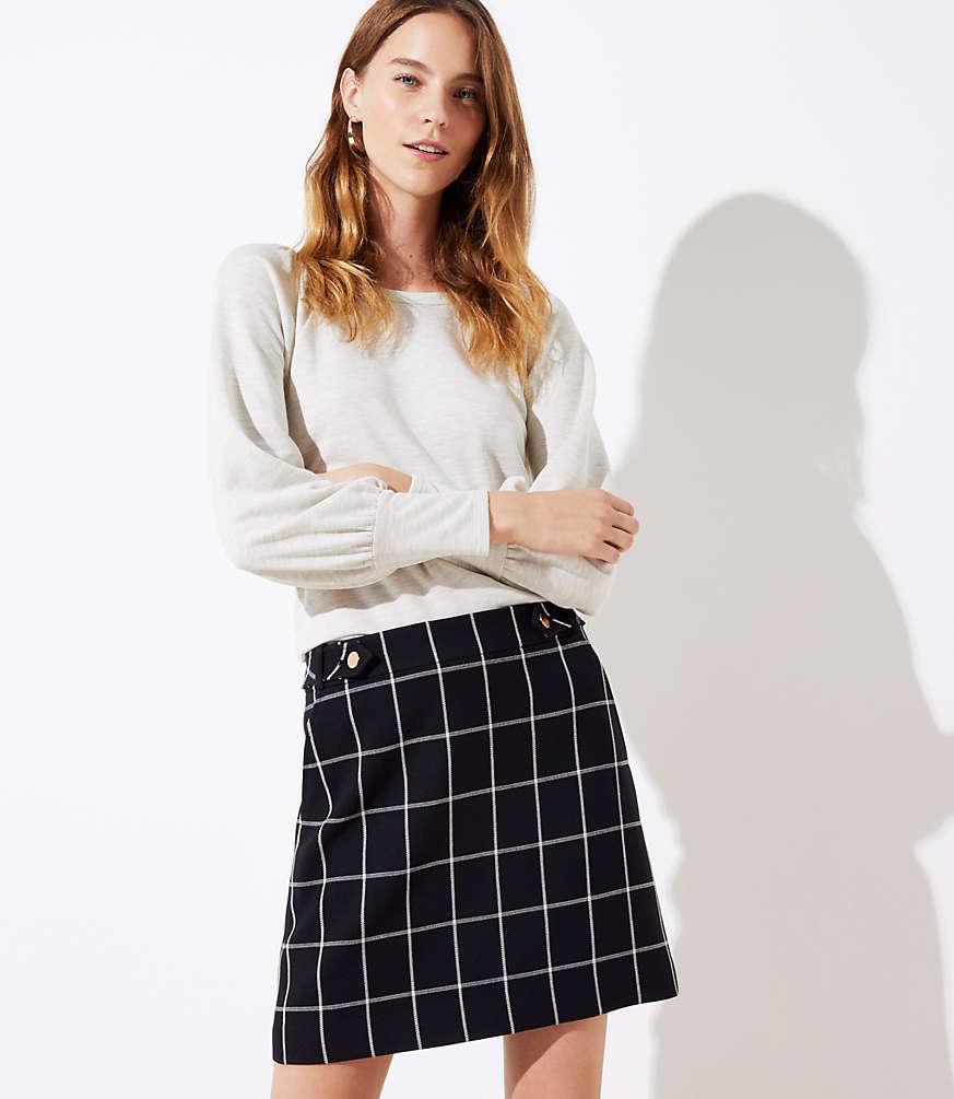 Petite Plaid Button Tab Pocket Skirt