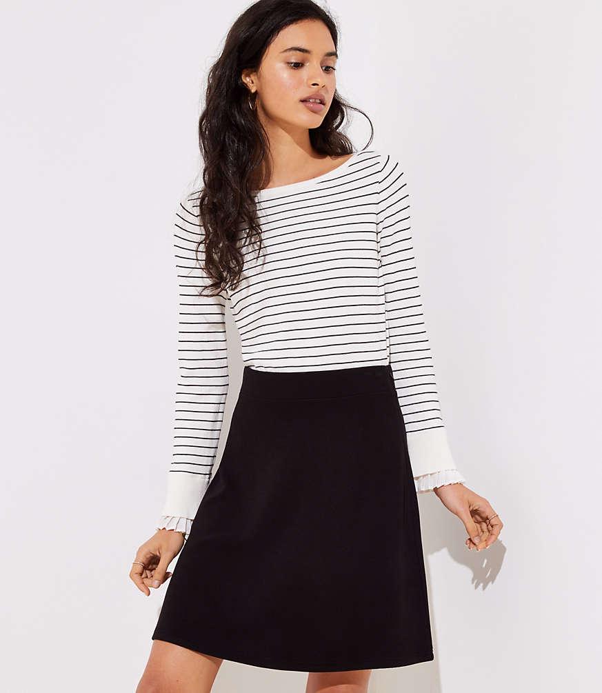 LOFT petite-ottoman-knit-flare-skirt $59.5