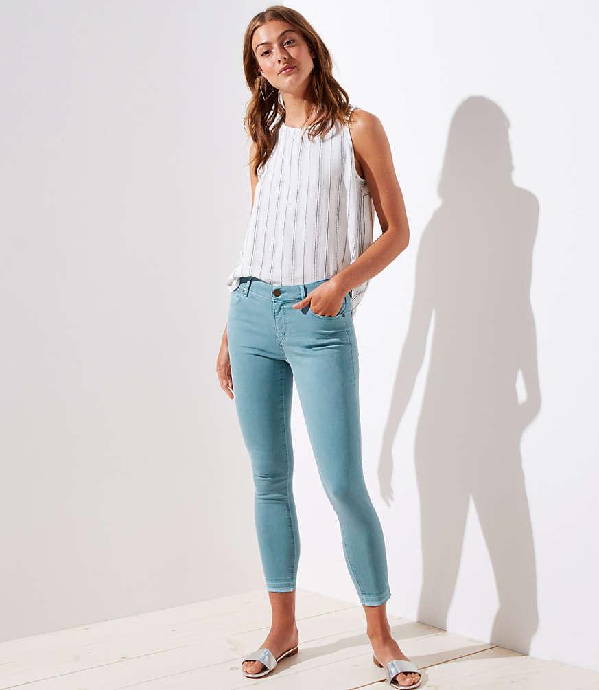 Petite Curvy Unpicked Skinny Crop Jeans in Mineral Blue