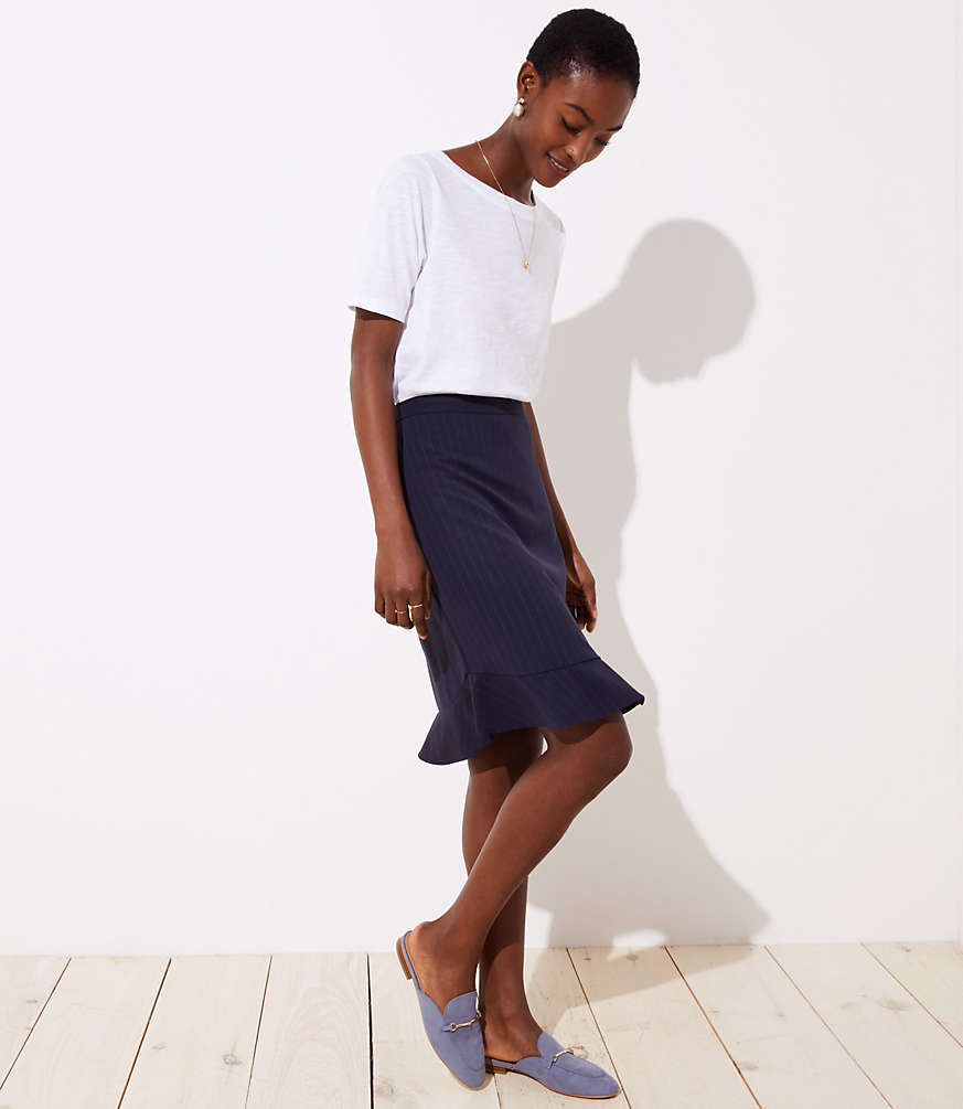 Petite Pinstripe Flounce Pencil Skirt