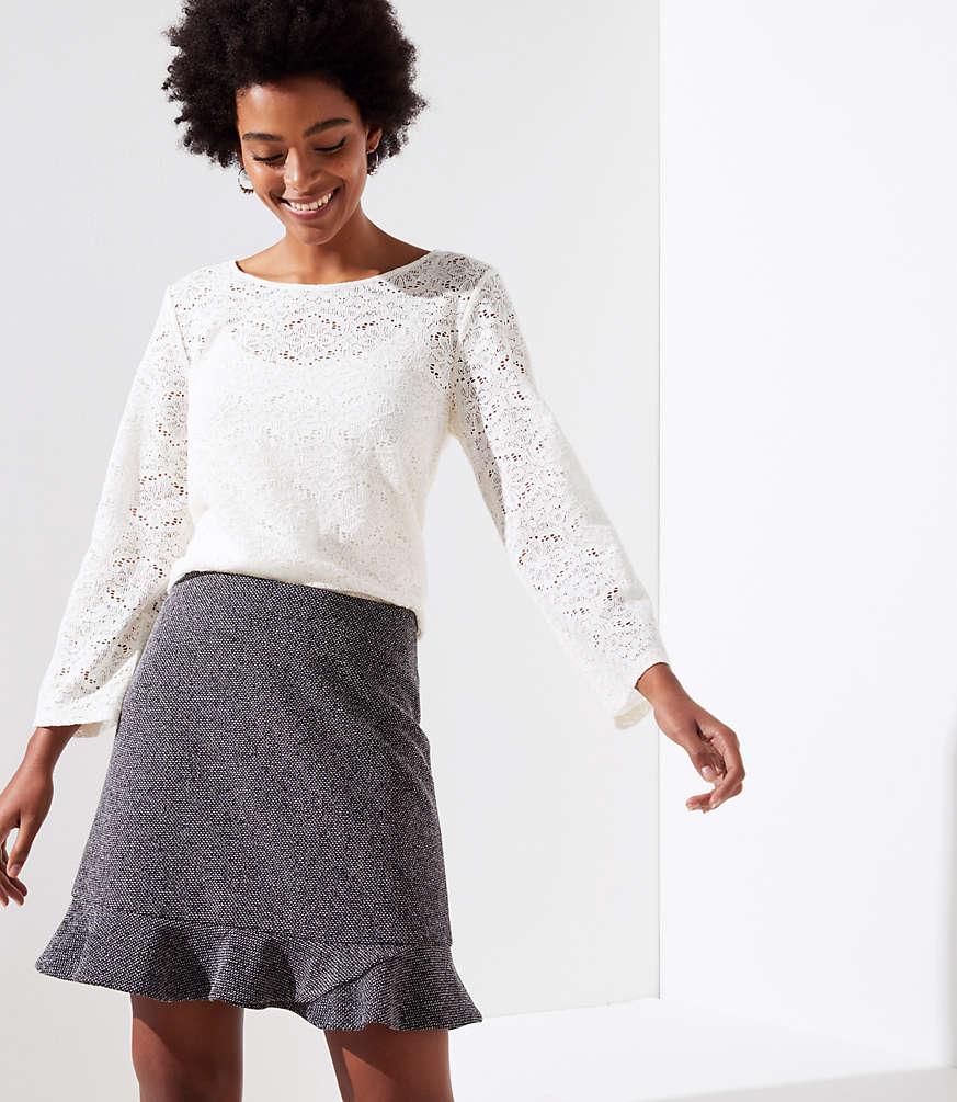 Petite Tweed Flippy Skirt