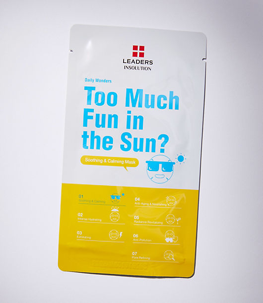 Leaders Too Much Fun In The Sun Mask is an easy to use and intensely calming sheet mask. Ingredients: Water, Butylene Glycol, Glycerin, Chamomilla Recutita (Matricaria) Flower Extract, Olea Europaea (Olive) Leaf Extract, Hydroxyethyl Acrylate/Sodium Acryloyldimethyl Taurate Copolymer, Portulaca Oleracea Extract, Acer Saccharum (Sugar Maple) Extract, Betaine, Al Barbadensis Leaf Extract, Ethylhexylglycerin, Caprylyl Glycol, Xanthan Gum, Arnica Montana Flower Extract, Hamamelis Virginiana (Witch Hazel) Water, Houttuynia Cordata Extract, Sodium Hyaluronate, Fragrance, Ledum Palustre Extract, Saururus Chinensis Extract, Artemisia Absinthium Extract, Artemisia Capillaris Flower Extract, Ecklonia Cava Extract, Achillea Millefolium Extract, Gentiana Lutea Root Extract, Acetyl Tetrapeptide-40.