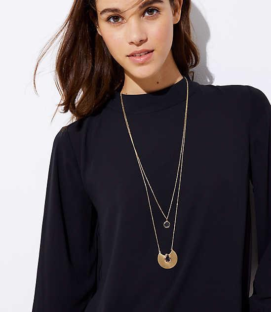 geometric stone pendant necklace set loft