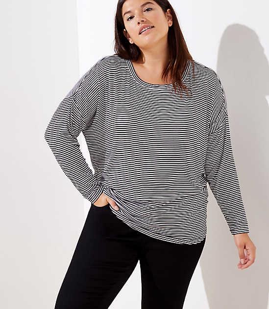81e22049a3170 LOFT Plus Striped Dolman Shirttail Tee