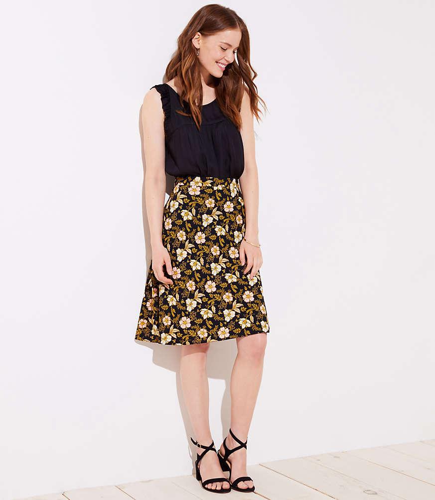 Petite Daisy Fluid A-Line Skirt