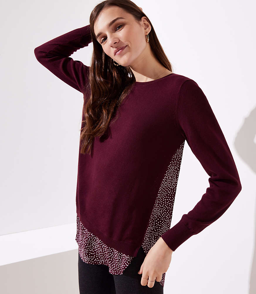 Petite Dotted Mixed Media Sweater